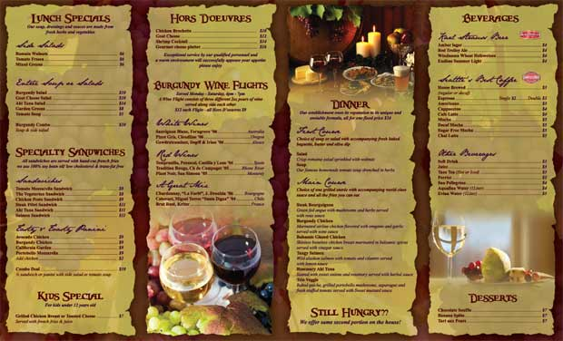 restaurants menus examples