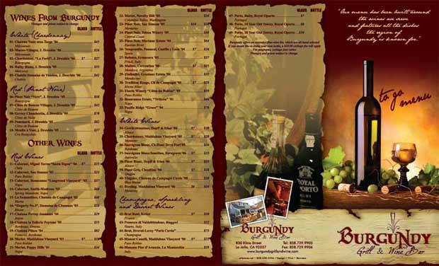 sample menu cards